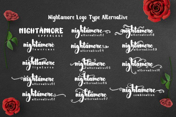 Download Nightamore - Brush font (typeface)