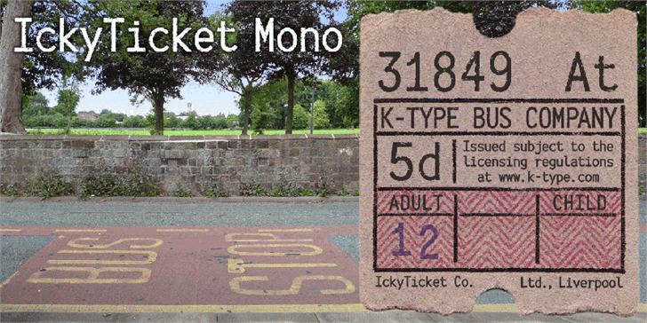 Download IckyTicket Mono font (typeface)