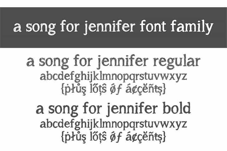 Download A song for jennifer font (typeface)