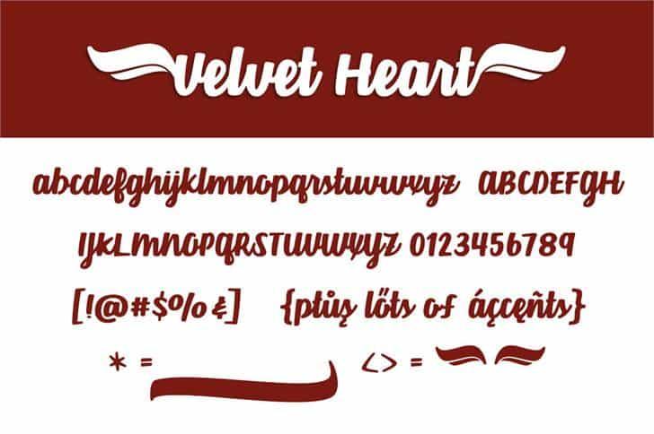 Velvet Heart шрифт скачать бесплатно