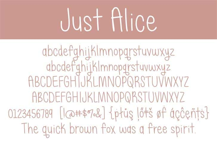 Download Just Alice font (typeface)