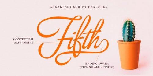 Breakfast Script шрифт скачать бесплатно
