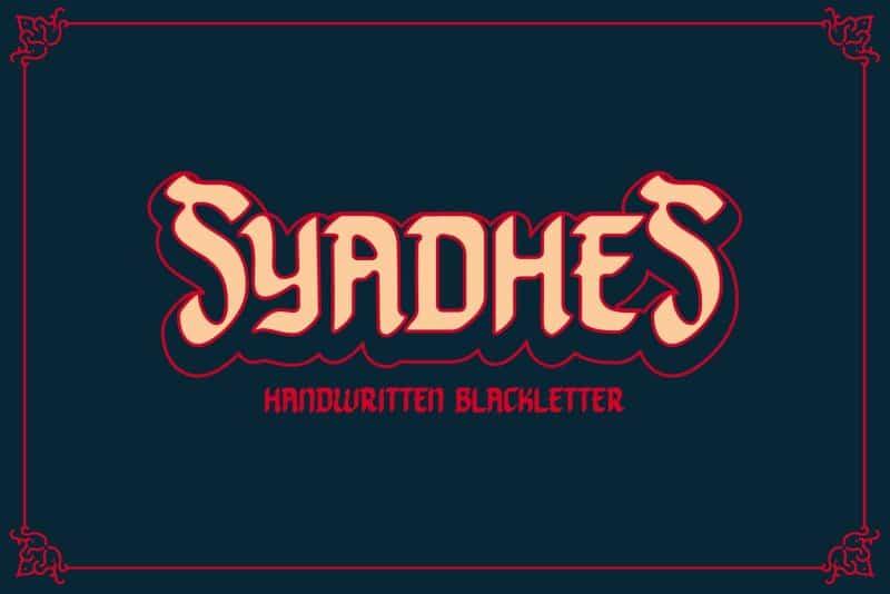 Download Syadhes font (typeface)