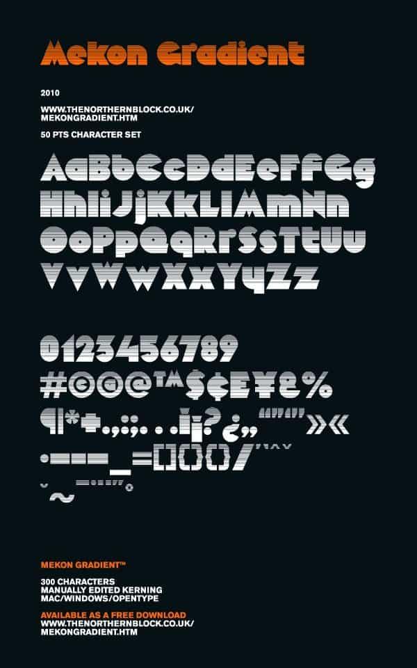 Download Mekon Gradient font (typeface)