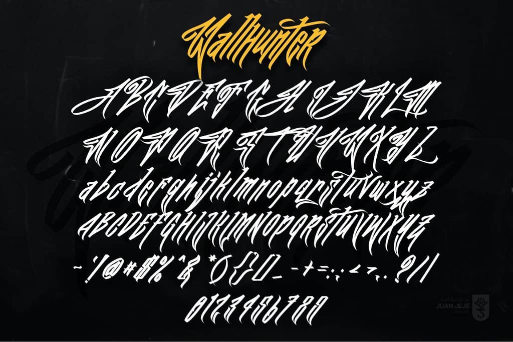 Download JFK Wall Hunter font (typeface)