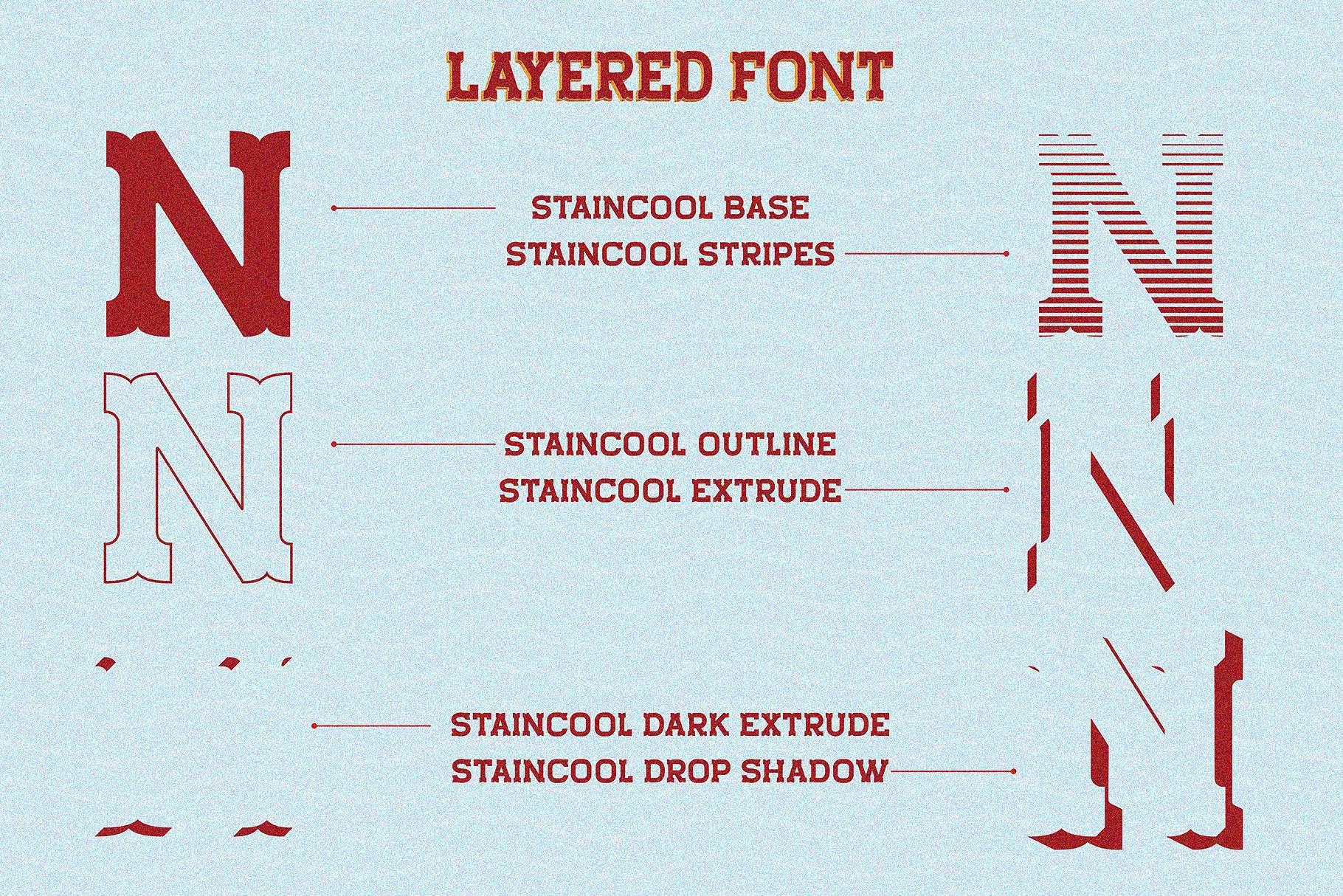 Staincool Layered шрифт скачать бесплатно