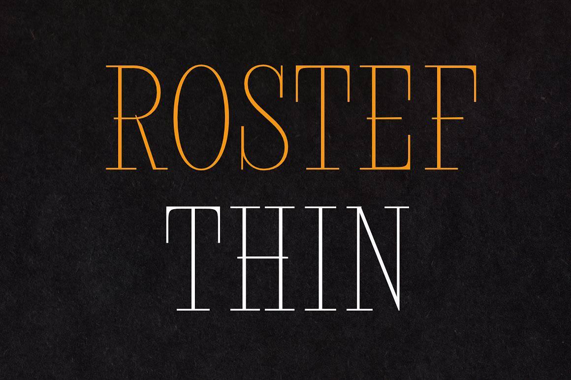 Rostef Thin шрифт скачать бесплатно