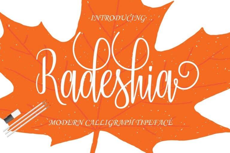 Download Radeshia font (typeface)
