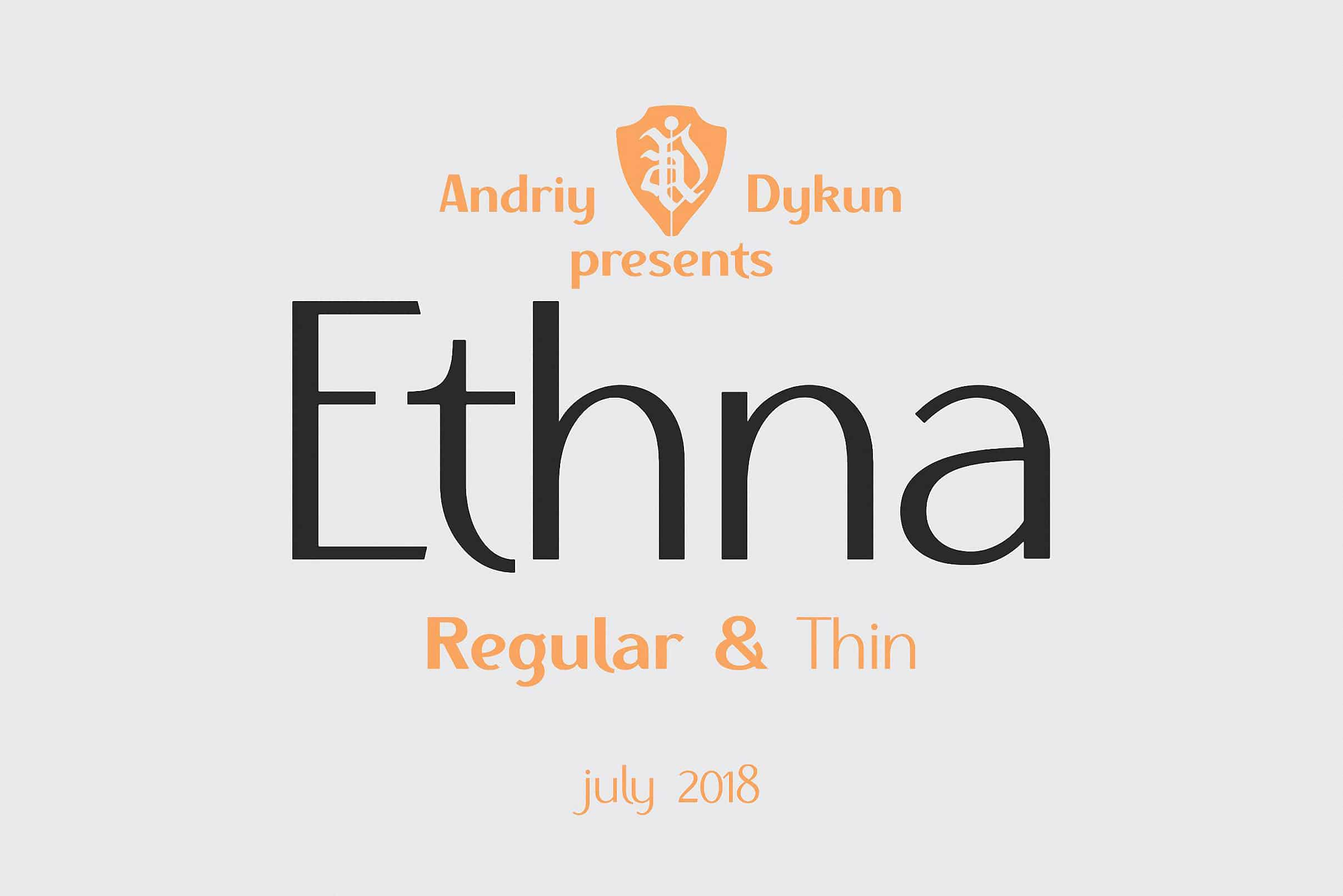 Download Ethna regular & thin font (typeface)
