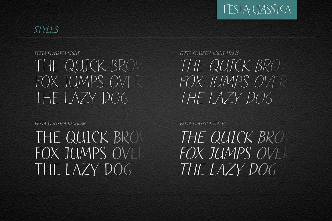 Download Festa Classica Family font (typeface)