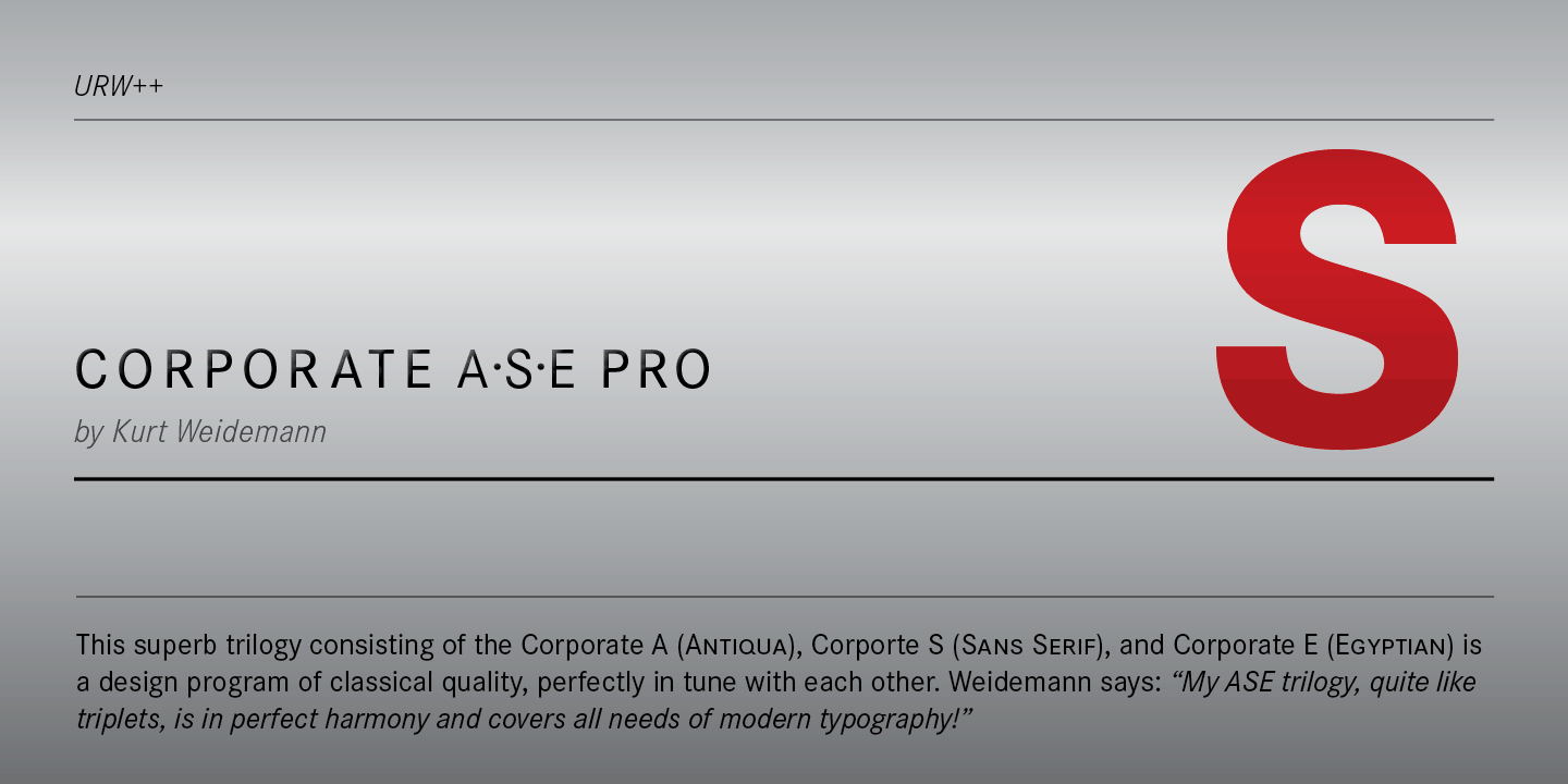 Download Corporate ASE PS     [1989 - Kurt Weidemann] font (typeface)