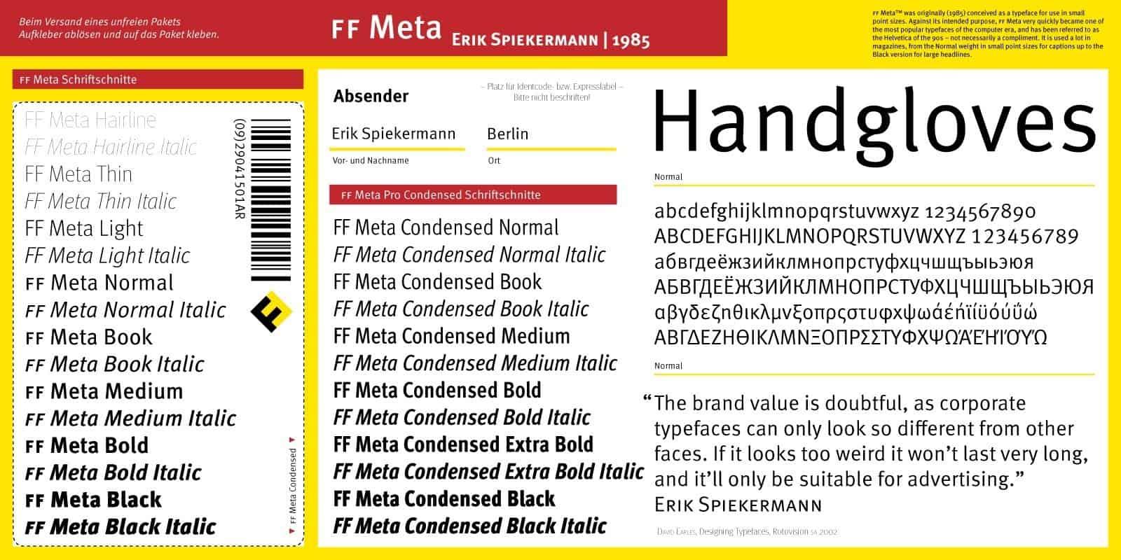 Download Meta     [1991 - Erik Spiekermann] font (typeface)