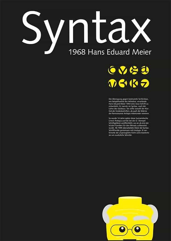 Download Syntax [1968 - Hans Eduard Meier] font (typeface)