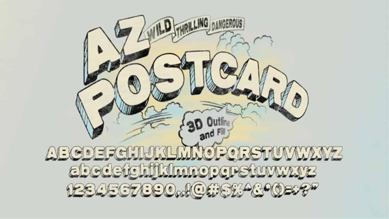 Download AZ Postcard 3D font (typeface)