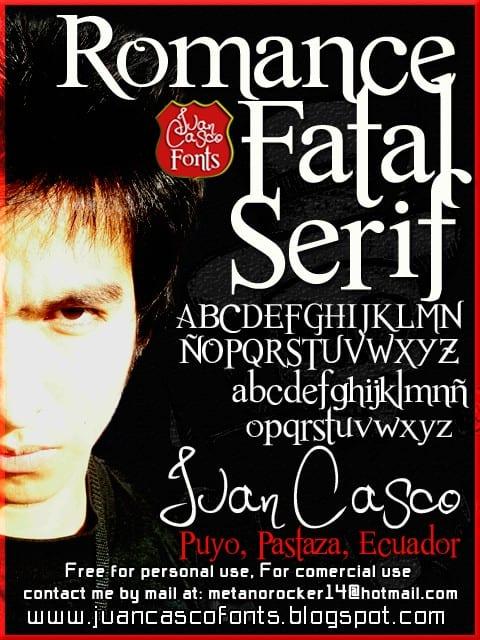 Download Romance Fatal Serif font (typeface)
