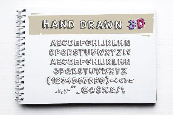 Download Hand Drawn 3D Letters and Numbers font (typeface)