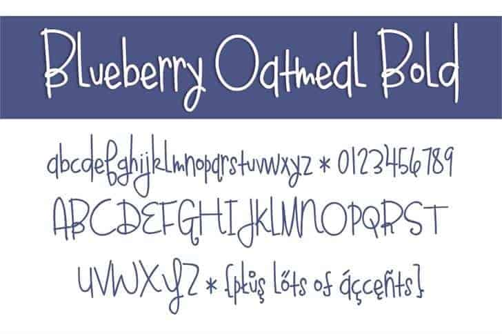 Download Bluebery Oatmeal Bold font (typeface)