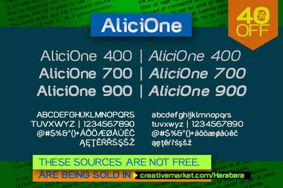 Download Alici One font (typeface)
