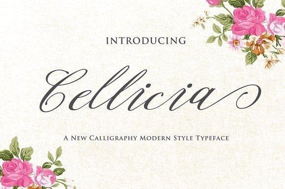 Download Cellicia Script font (typeface)